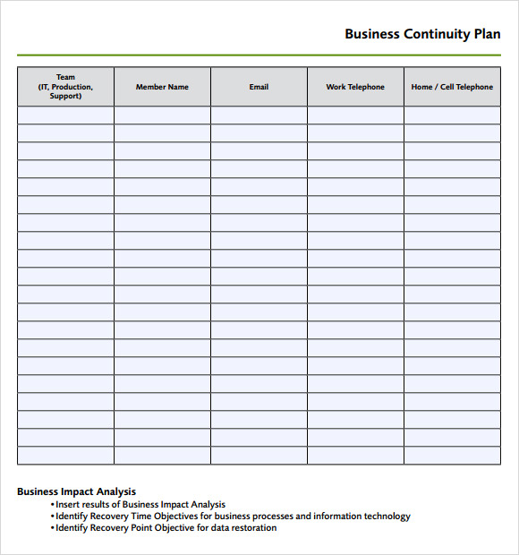 9 disaster recovery plan templates sample templates business continuity plan template accmission Image collections