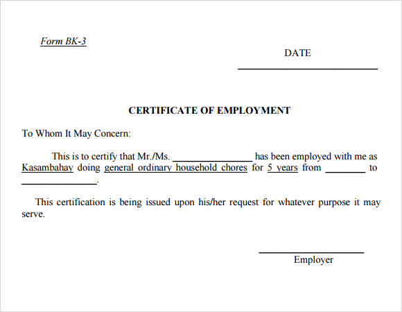 Employment Certificate Template 9 Download Free Documents in – Employee Working Certificate Format