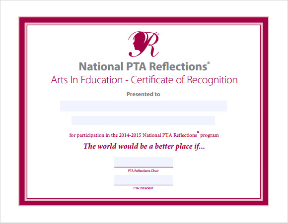 recognition certificate template 7 download free
