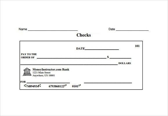 Cheque Template Pdf