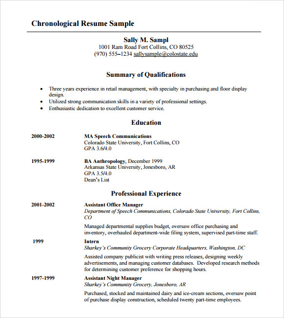 free 7  sample chronological resume templates in pdf
