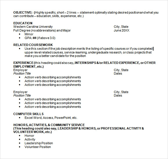 Chronological Resume Template Doc | Summary For Resume ...