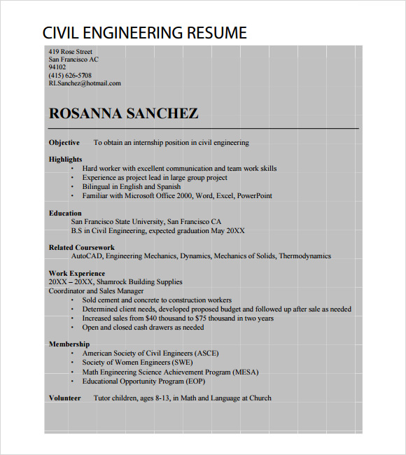 free 6  sample civil engineer resume templates in free