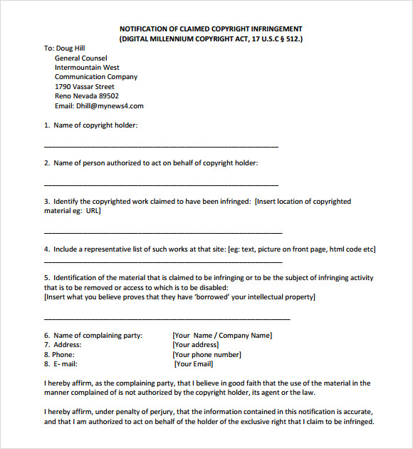 Sample DMCA Notice 9 Documents in PDF – Copyright Notice Template
