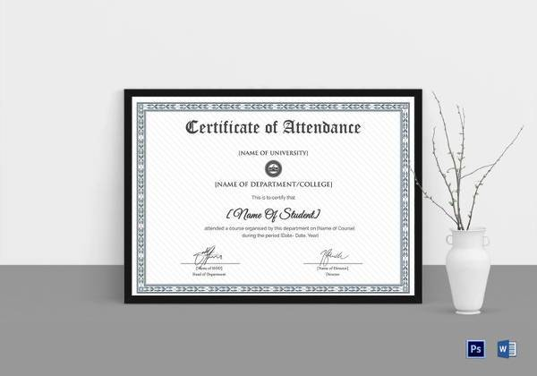 college students attendance certificate template