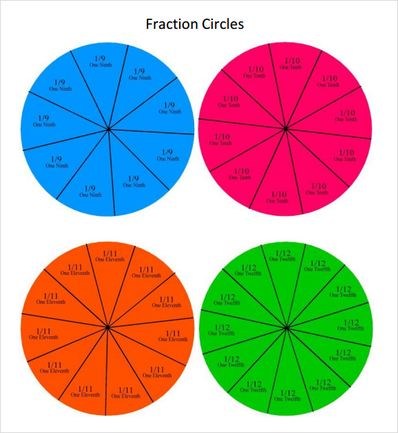 Circle Template   Download Free Documents In Pdf  Psd Color Fraction Circle Template