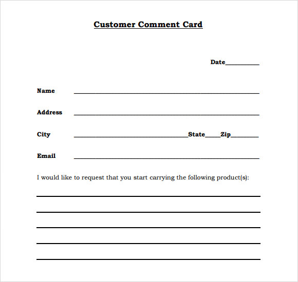 11+ Comment Cards – PDF, Word, Adobe Portable Documents | Sample