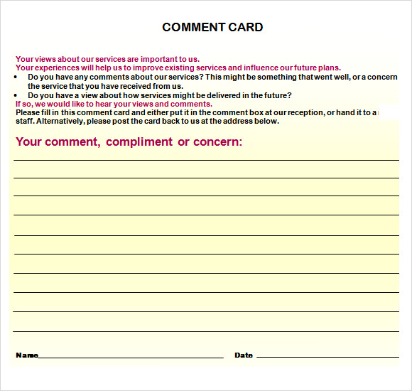 Comment Card Template Word  Card Template For Word