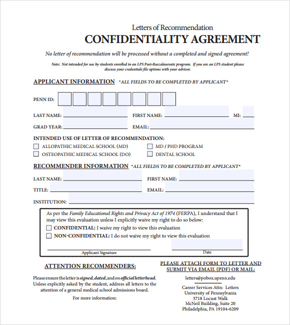 Sample Confidentiality Agreement   Documents In Pdf
