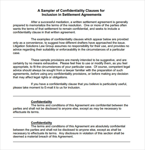Charming Confidentiality Clause Template To Confidentiality Clause Contract