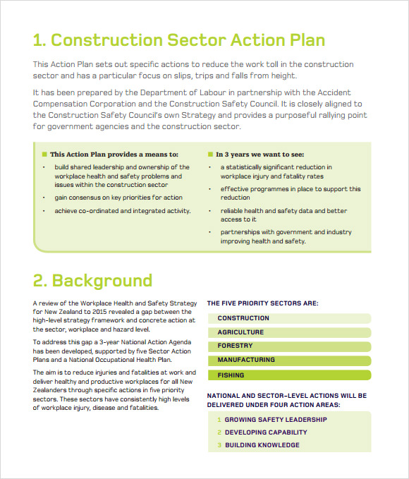 11 sample construction business plan templates to download sample construction action plan template wajeb Choice Image