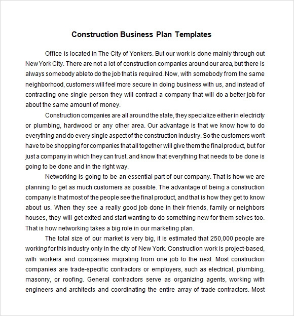 Construction Business Plan Template   Download Free Documents