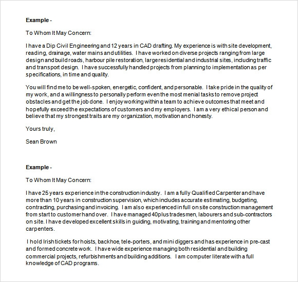 Cover Letter Sample Construction Job