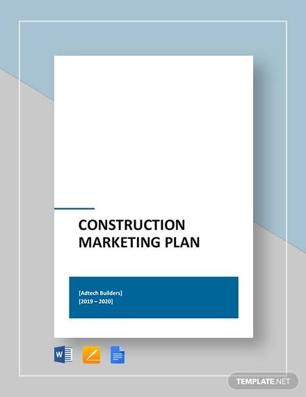 construction marketing plan template
