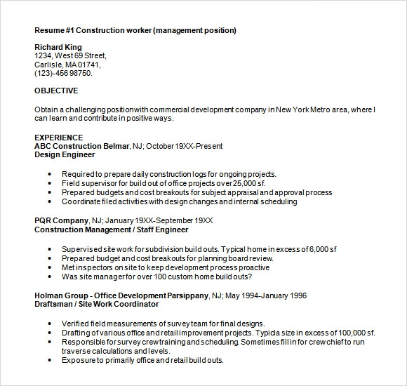Sample Construction Resume - 5+ Documents In Pdf, Word