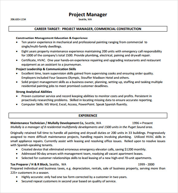 construction sample resume
