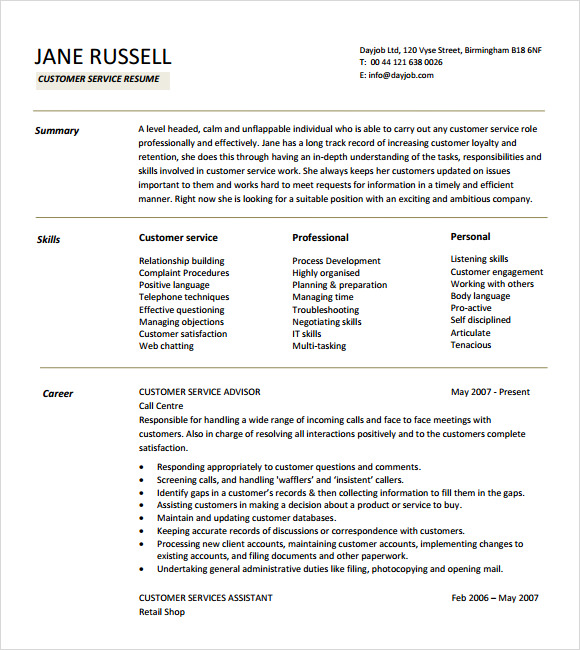 examples of resumes for customer service resume format download pdf customer service resume templates skills customer - Resume Customer Service