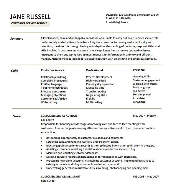 Customer Service Resumes Objectives – Resume Objectives