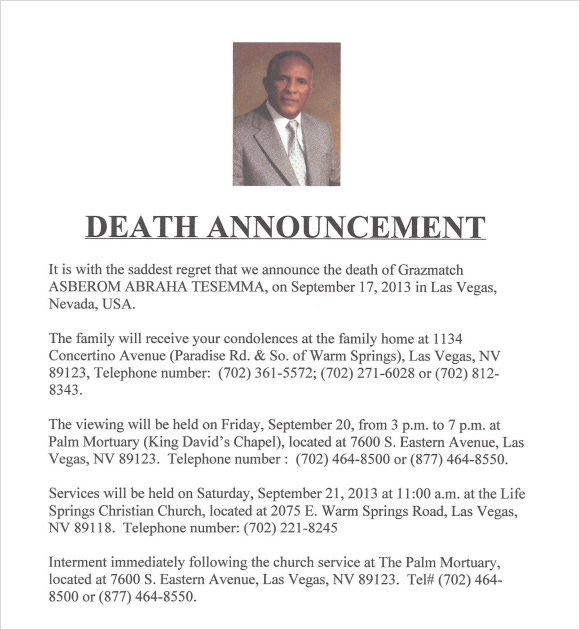 Sample Death Notice 14 Documents in PDF PSD WORD – Funeral Announcement Template Free