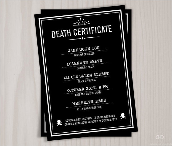 death certificate sample