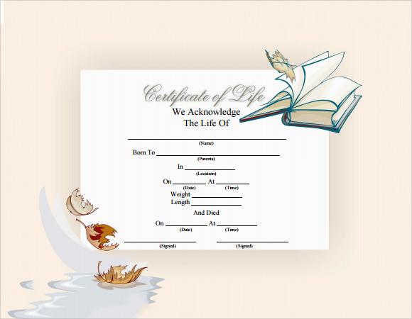 death certificate template pdf