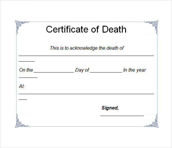 Sample Death Certificate Template   Download Documents In Pdf