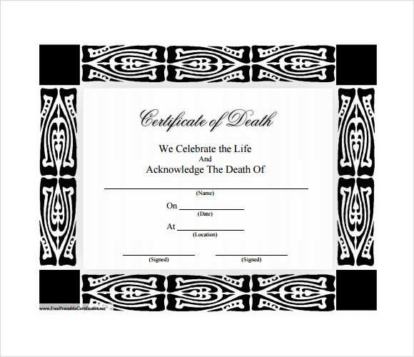 Marvelous Death Certificate Template U2013 7+ Download Documents In PDF , Word , PSD U2026