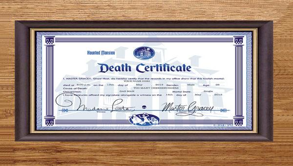 death certificate template