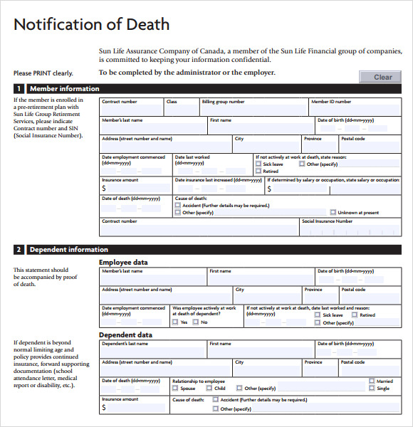death notification template
