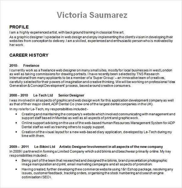 designer resume template doc