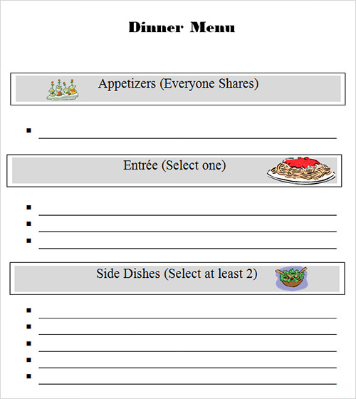 Sample Menu Template   Download In Pdf Psd Wor