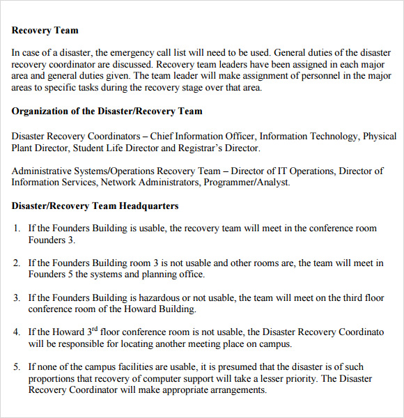 Sample Disaster Recovery Plan Template - 7+ Download Free ...