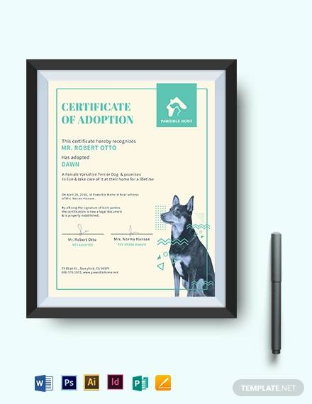 dog adoption certificate template1