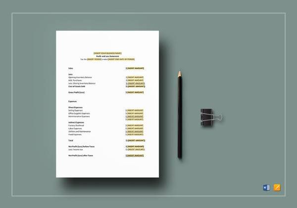 editable profit and loss statement template