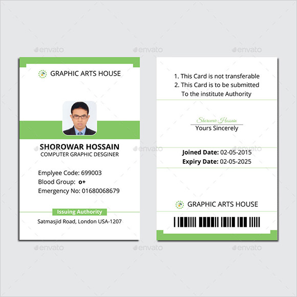 Sample Id Card Template