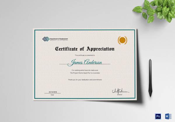 employment certificate of appreciation template