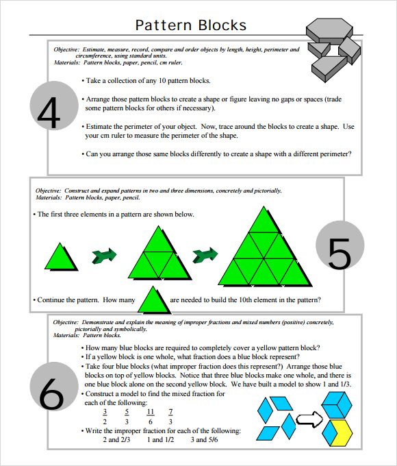 10 useful sample pattern block templates to download for Everyday math pattern block template