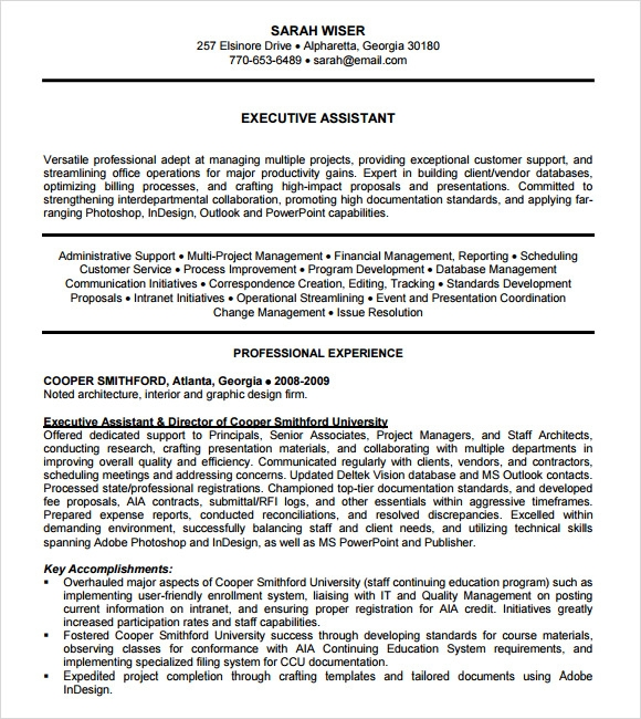 Administrative Assistant Resume - 8+ Download Free Documents In