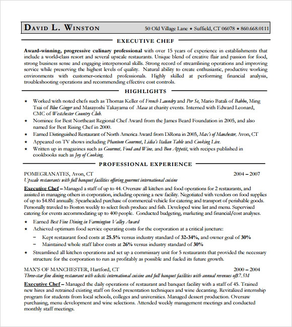 Culinary Resume Sample Professional Hospital Chef Templates To