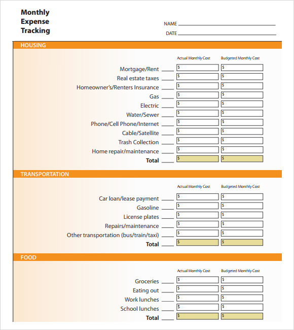 8 Sample Expense Tracking Templates to Download | Sample Templates