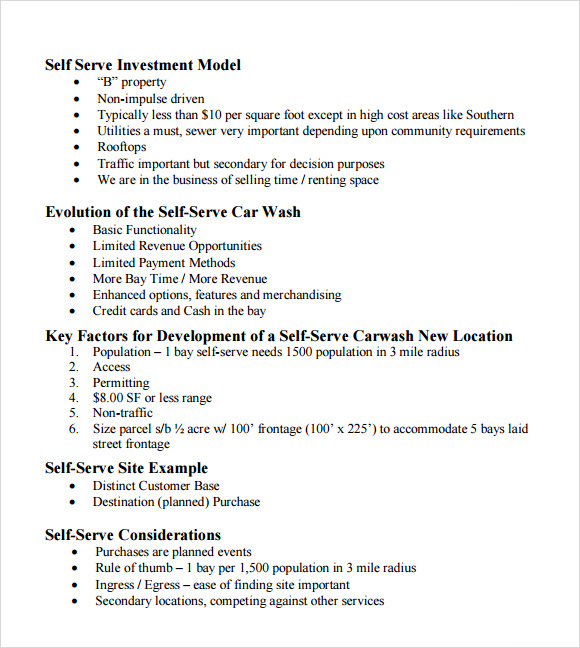 Car Wash Business Plan Template   Free Documents In Pdf