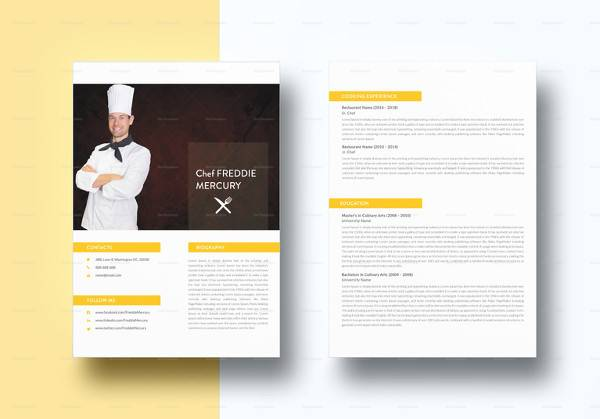 free 14  useful sample chef resume templates in ms word