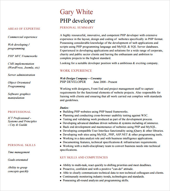 Php Developer Resume Template   Download Free Documents In Pdf  Word