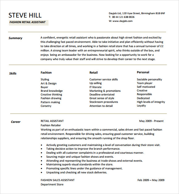 fashion designer resume template - Fashion Designer Resume Sample