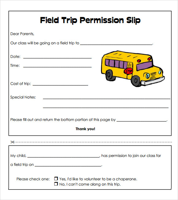 Wild image with printable permission slips for field trips
