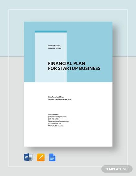 financial plan for start up business template