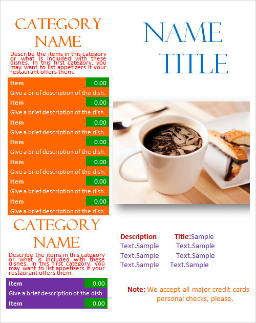 Sample Menu Template 19 Download in PDF PSD Word – Sample Bakery Menu Template