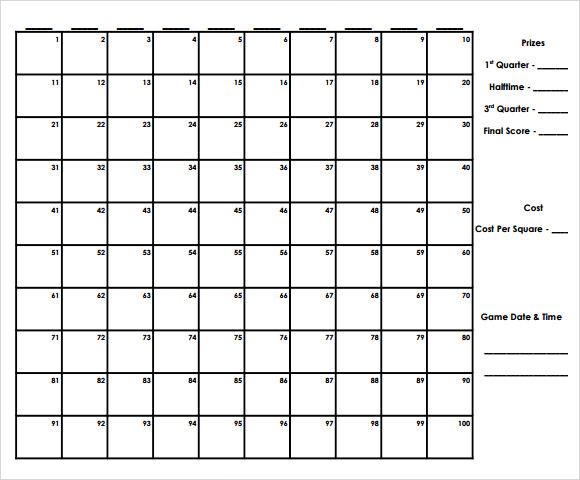Superbowl football squares pool game prioritymm for Printable super bowl block pool template