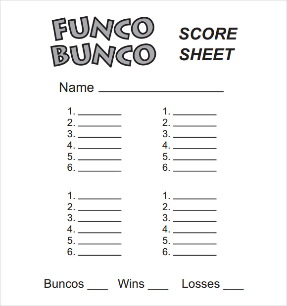 Bunco Score Sheets Template 9 Download Documents in PDF PSD – Bunco Score Sheets Template