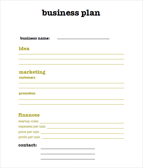 Business plan free template word
